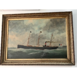Portrait of boat on canvas